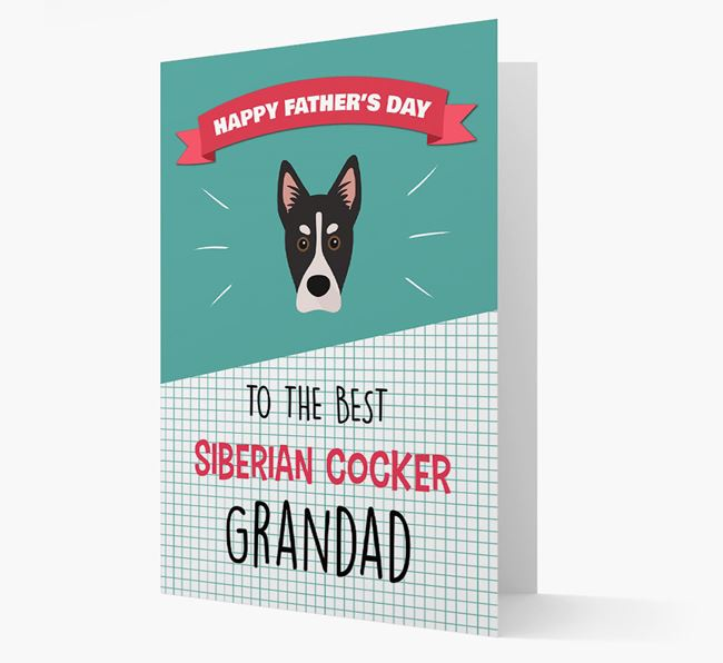 'Best Siberian Cocker Grandad' Card with Siberian Cocker Icon