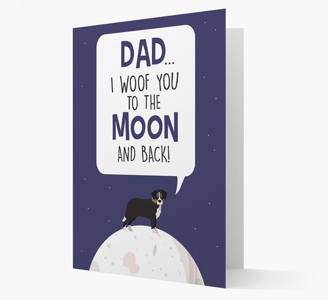 'Dad, I woof you to the Moon and back' Card