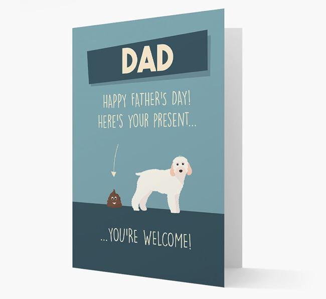 'Dad, here's your present...' Card for Cockapoo Dad