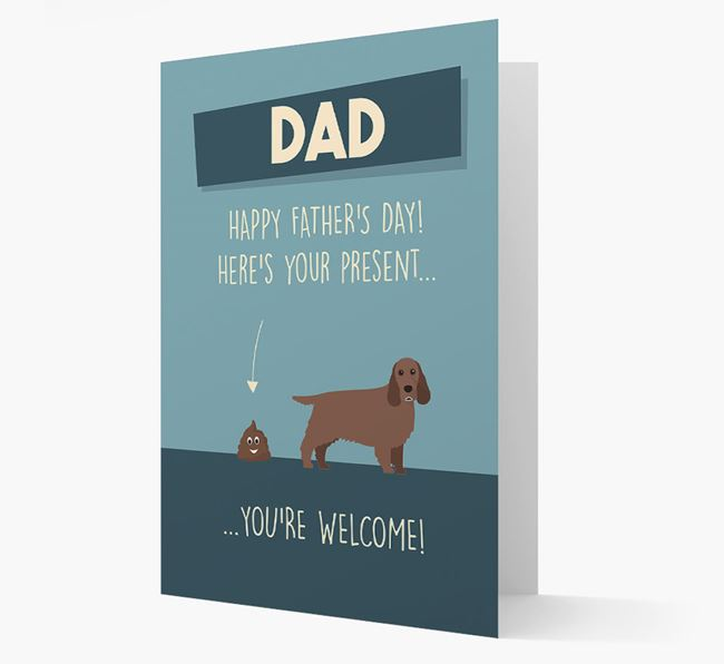 'Dad, here's your present...' Card for Cocker Spaniel Dad