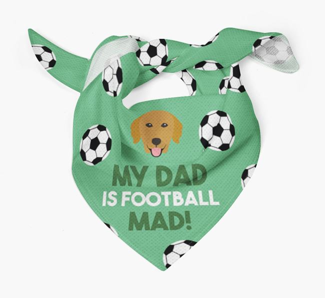 'My Dad Is Football Mad' Bandana with Golden Retriever Icon