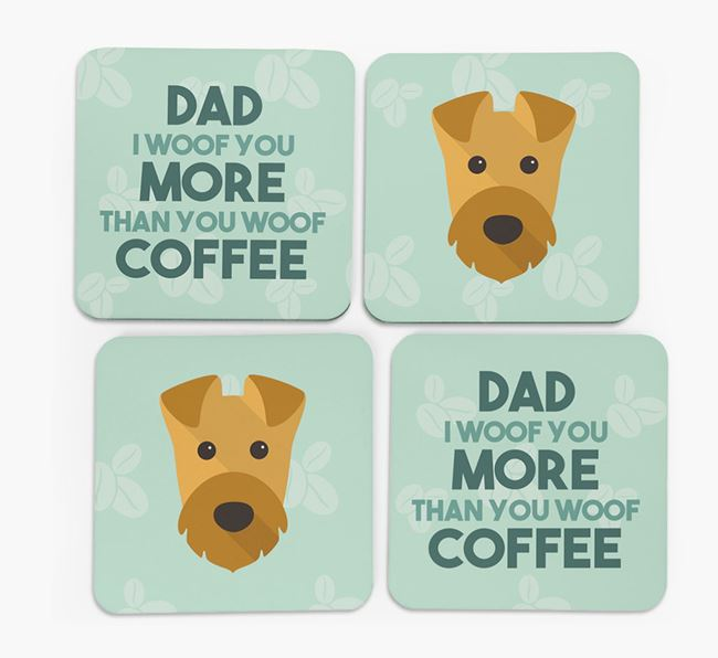 'Dad I woof you more than you woof coffee' Coasters with Airedale Terrier Icon