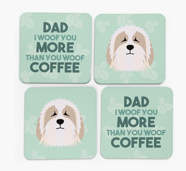 'Dad I woof you more than you woof coffee' Coasters with Bearded Collie Icon