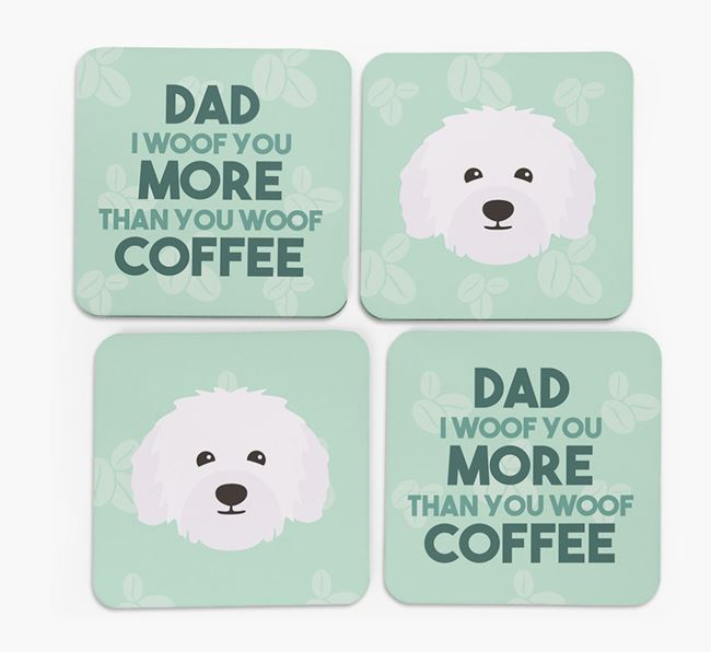 'Dad I woof you more than you woof coffee' Coasters with Bolognese Icon