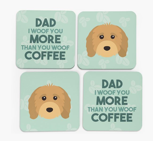 'Dad I woof you more than you woof coffee' Coasters with Cavapoo Icon