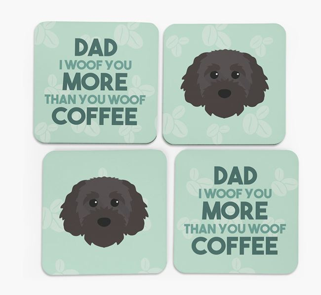 'Dad I woof you more than you woof coffee' Coasters with Cavapoochon Icon
