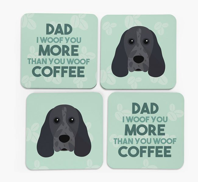'Dad I woof you more than you woof coffee' Coasters with Cocker Spaniel Icon