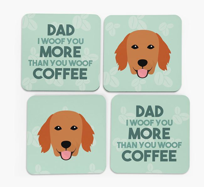 'Dad I woof you more than you woof coffee' Coasters with Flat-Coated Retriever Icon