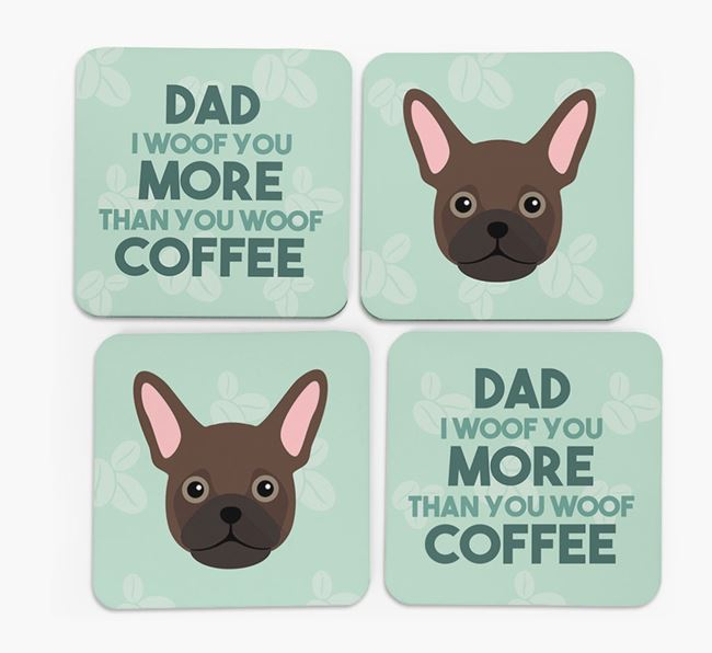 'Dad I woof you more than you woof coffee' Coasters with Frug Icon
