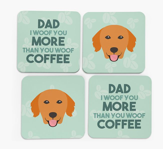 'Dad I woof you more than you woof coffee' Coasters with Golden Retriever Icon