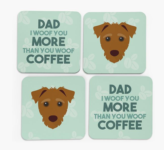 'Dad I woof you more than you woof coffee' Coasters with Jack-A-Poo Icon