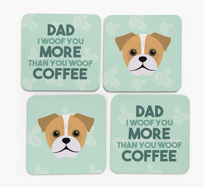 'Dad I woof you more than you woof coffee' Coasters with Jug Icon