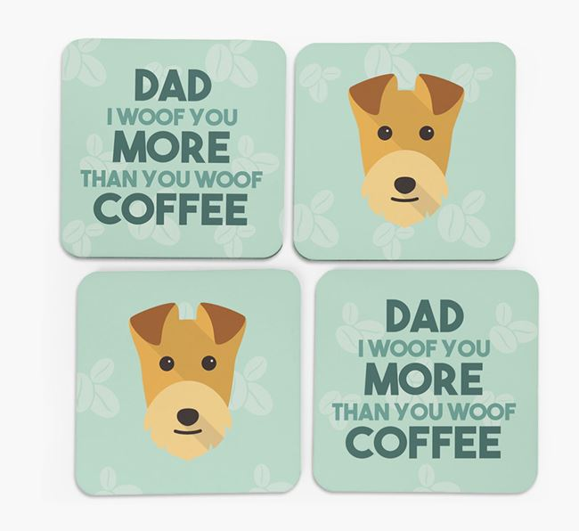 'Dad I woof you more than you woof coffee' Coasters with Lakeland Terrier Icon