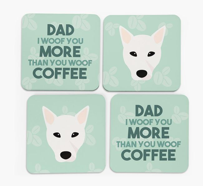 'Dad I woof you more than you woof coffee' Coasters with Mixed Breed Icon