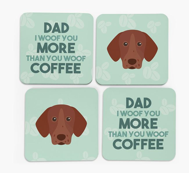 'Dad I woof you more than you woof coffee' Coasters with Pointer Icon