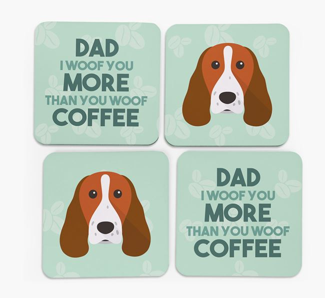 'Dad I woof you more than you woof coffee' Coasters with Springer Spaniel Icon