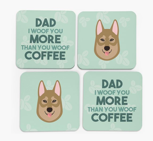 'Dad I woof you more than you woof coffee' Coasters with Tamaskan Icon