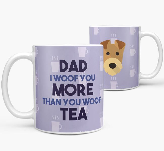 'Dad I woof you more than you woof tea' Mug with Airedale Terrier Icon