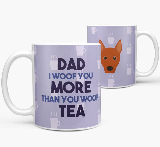 'Dad I woof you more than you woof tea' Mug with Basenji Icon