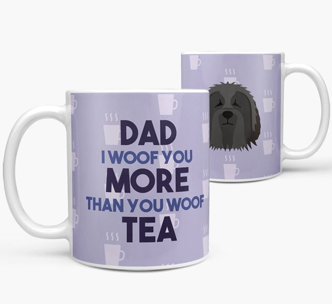 'Dad I woof you more than you woof tea' Mug with Bearded Collie Icon