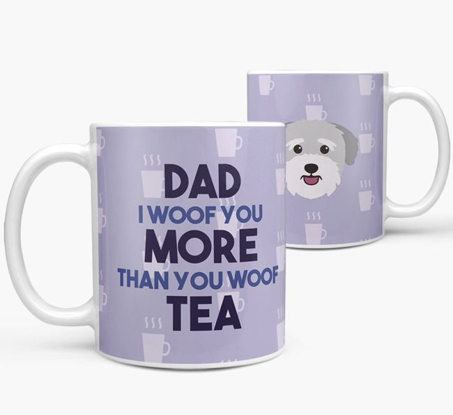 'Dad I woof you more than you woof tea' Mug with Bichon Yorkie Icon