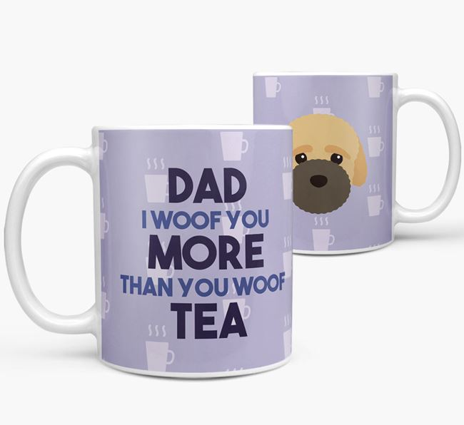 'Dad I woof you more than you woof tea' Mug with Bich-poo Icon