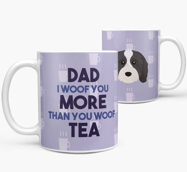 'Dad I woof you more than you woof tea' Mug with Cavapoo Icon