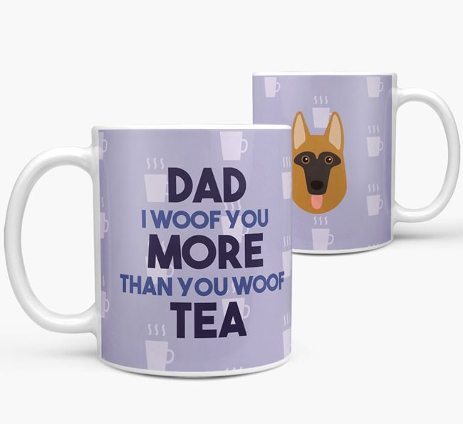'Dad I woof you more than you woof tea' Mug with Dog Icon