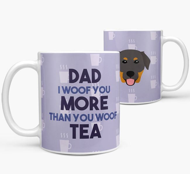 'Dad I woof you more than you woof tea' Mug with Golden Labrador Icon