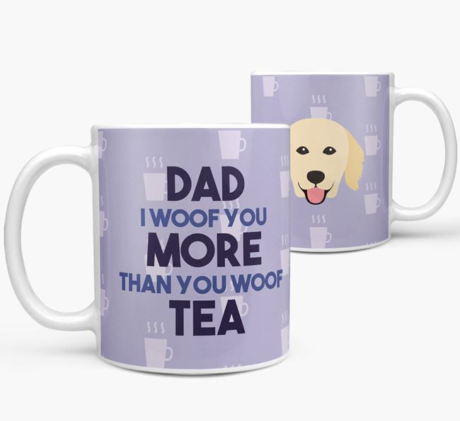 'Dad I woof you more than you woof tea' Mug with Hovawart Icon