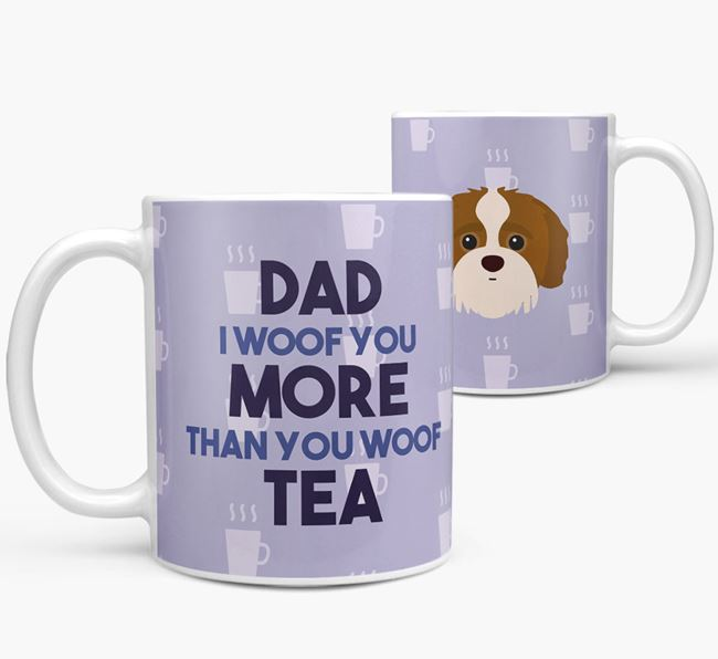 'Dad I woof you more than you woof tea' Mug with Jack-A-Poo Icon