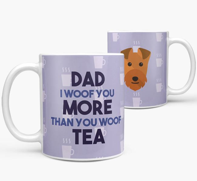 'Dad I woof you more than you woof tea' Mug with Lakeland Terrier Icon