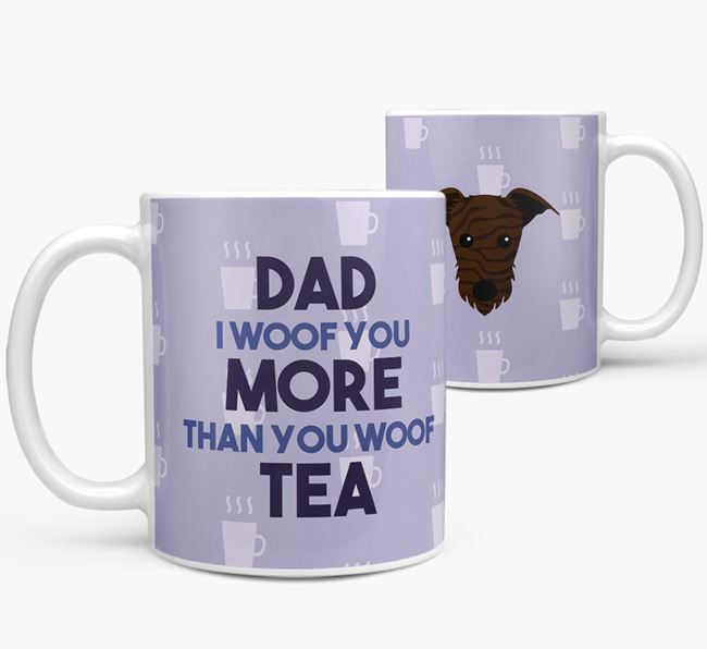'Dad I woof you more than you woof tea' Mug with Lurcher Icon