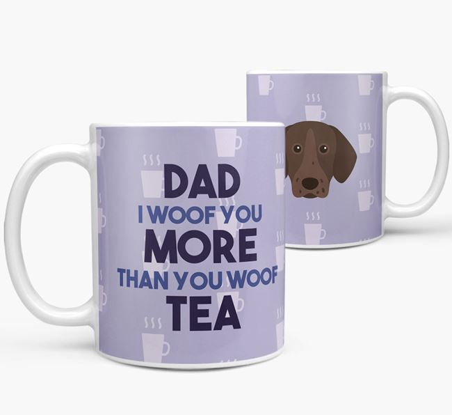 'Dad I woof you more than you woof tea' Mug with Pointer Icon
