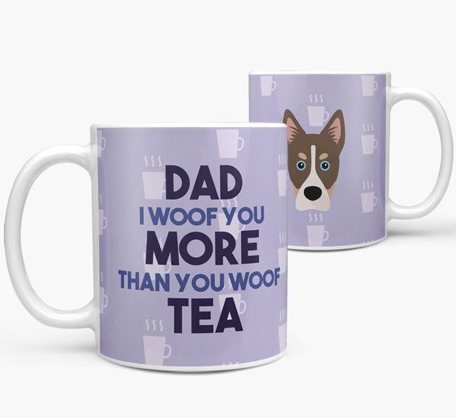 'Dad I woof you more than you woof tea' Mug with Siberian Cocker Icon