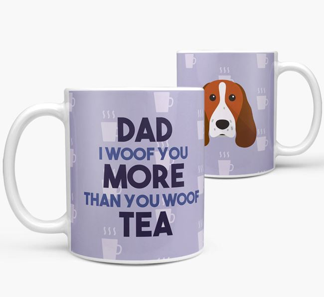 'Dad I woof you more than you woof tea' Mug with Springer Spaniel Icon