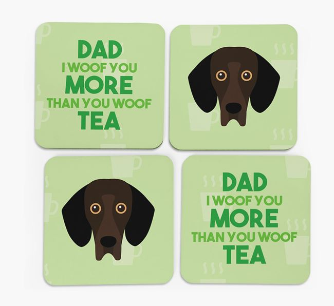 'Dad I woof you more than you woof tea' Coasters with Bassador Icon