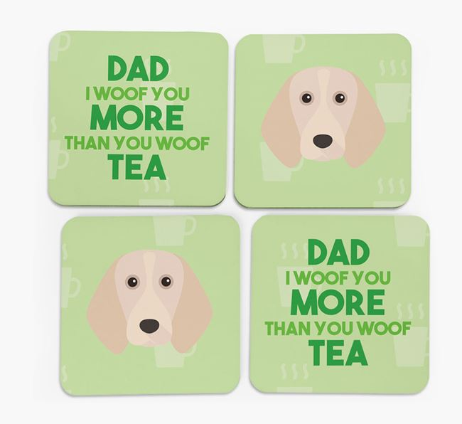 'Dad I woof you more than you woof tea' Coasters with Beagle Icon