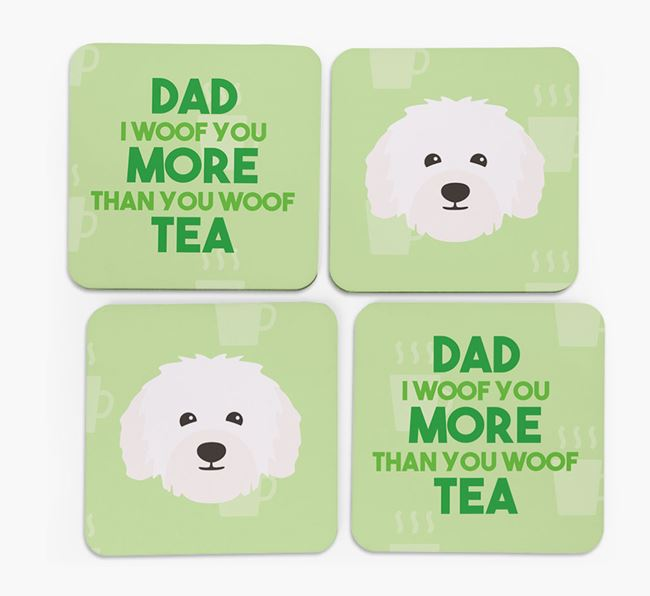 'Dad I woof you more than you woof tea' Coasters with Bolognese Icon