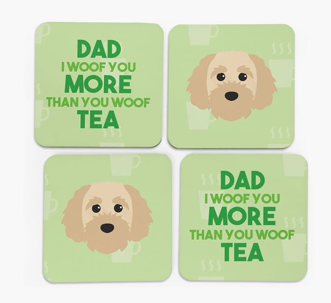 'Dad I woof you more than you woof tea' Coasters with Cavapoochon Icon