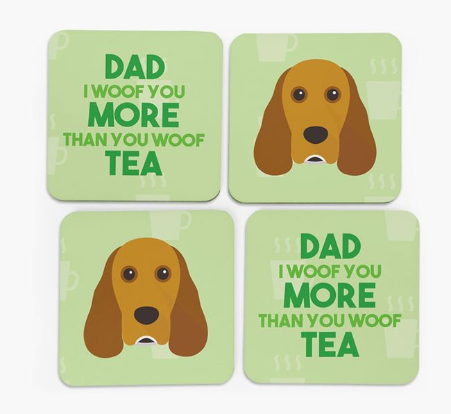 'Dad I woof you more than you woof tea' Coasters with Cocker Spaniel Icon