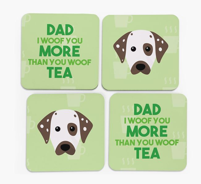 'Dad I woof you more than you woof tea' Coasters with Dalmatian Icon