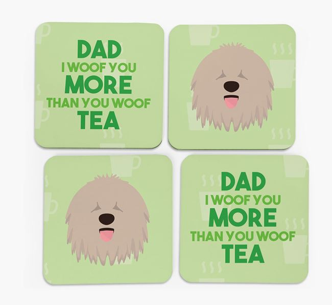 'Dad I woof you more than you woof tea' Coasters with Komondor Icon