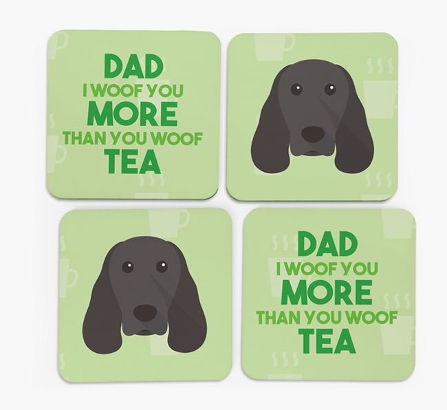 'Dad I woof you more than you woof tea' Coasters with Springer Spaniel Icon
