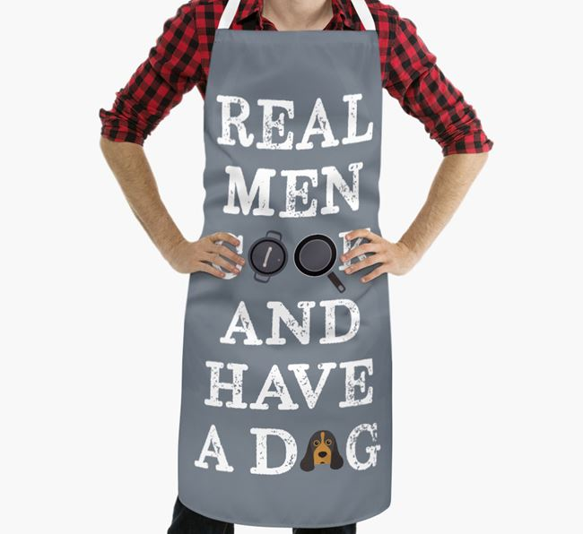 'Real Men Cook And Have A Dog' Apron with American Cocker Spaniel Icon