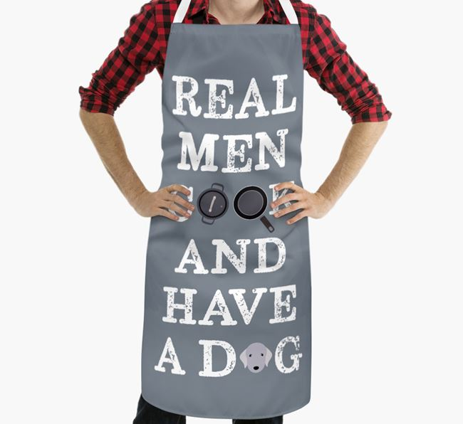 'Real Men Cook And Have A Dog' Apron with Bedlington Terrier Icon