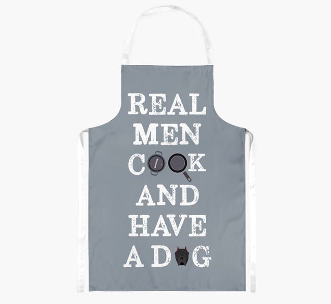 'Real Men Cook And Have A Dog' Apron with Cane Corso Italiano Icon