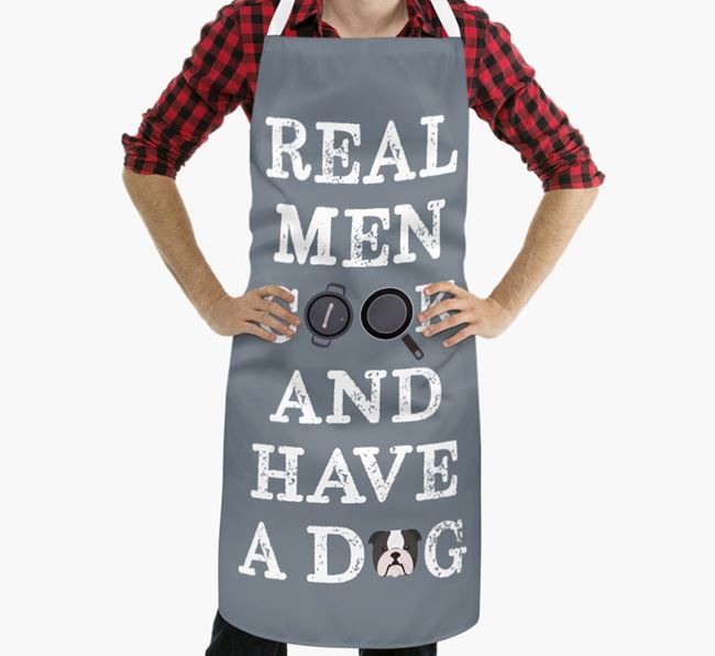 'Real Men Cook And Have A Dog' Apron with English Bulldog Icon