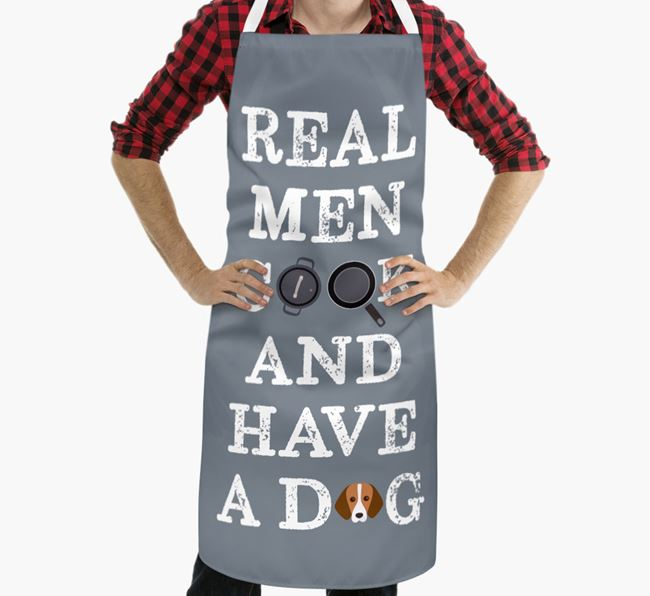 'Real Men Cook And Have A Dog' Apron with Foxhound Icon