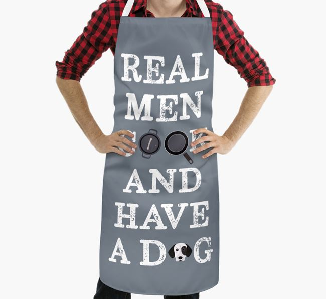 'Real Men Cook And Have A Dog' Apron with German Shorthaired Pointer Icon